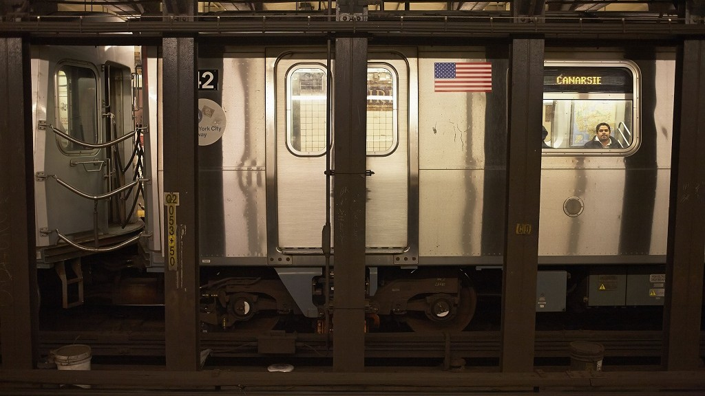 United States, New York, Manhattan, Metro with American flag
