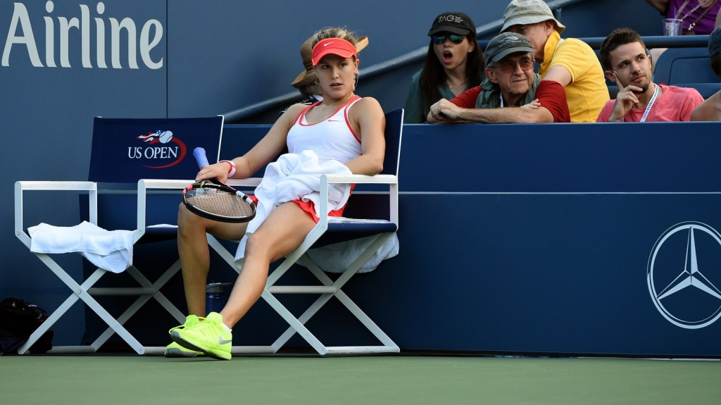 Eugenie Bouchard of Canada takes a break during her match against Dominika Cibulkova of Slovakia  in the 2015 US Open women's singles round three match at the USTA Billie Jean King National Tennis Center September 4, 2015 in New York.        AFP PHOTO /  TIMOTHY  A. CLARY