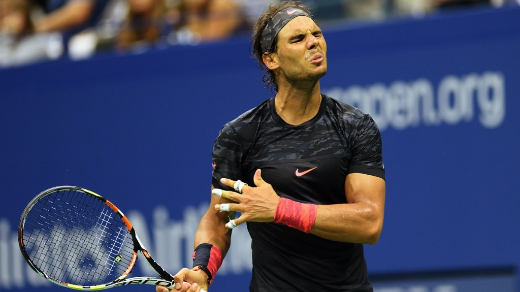 Rafael Nadal of Spain reacts to a point while playing Fabio Fognini of Italy during their 2015 US Open third round men's singles match at the USTA Billie Jean King National Tennis Center on September 4, 2015  in New York. AFP PHOTO/DON EMMERT