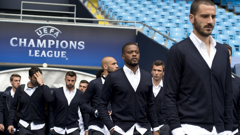 Juventus' football team players exit the players tunnel as they arrive to view the pitch at the Etihad Stadium in Manchester, north-west England on September 14, 2015, ahead of their UEFA Champions League Group D football match against Manchester City on September 15. AFP PHOTO / OLI SCARFF