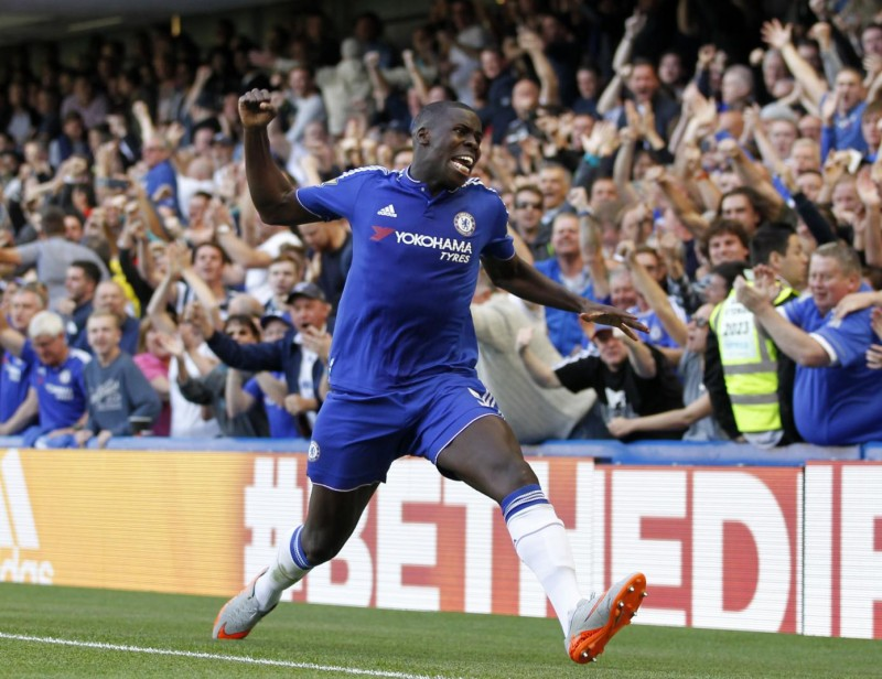 Chelsea's French defender Kurt Zouma celebrates after scoring the opening goal of the English Premier League football match between Chelsea and Arsenal at Stamford Bridge in London on September 19, 2015. AFP PHOTO / IAN KINGTON  RESTRICTED TO EDITORIAL USE. No use with unauthorized audio, video, data, fixture lists, club/league logos or 'live' services. Online in-match use limited to 75 images, no video emulation. No use in betting, games or single club/league/player publications.