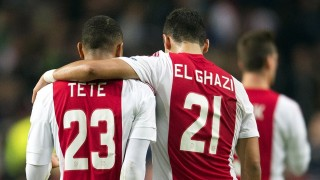 Ajax's Kenny Tete (L) and Anwar El Ghazi leave after the UEFA Europa League Group A football match Ajax Amsterdam vs Celtic Glasgow on September 17, 2015 at the Amsterdam Arena in Amsterdam. The match ended with a 2-2 draw. AFP PHOTO / ANP / OLAF KRAAK +++ NETHERLANDS OUT