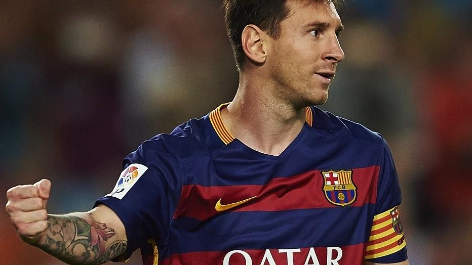 Lionel Messi (FC Barcelona) celebrates after scoring, during La Liga soccer match between FC Barcelona and Levante UD, at the Camp Nou stadium in Barcelona, Spain, sunday september 20, 2015. Foto: S.Lau