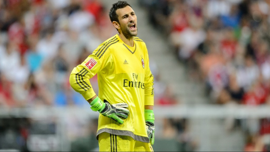 ACMilan's goalkeeper Diego Lopez in action during the Audi Cup in Munich, Germany, 04 August 2015. Photo: Thomas Eisenhuth/dpa  - NOWIRESERVICE -
