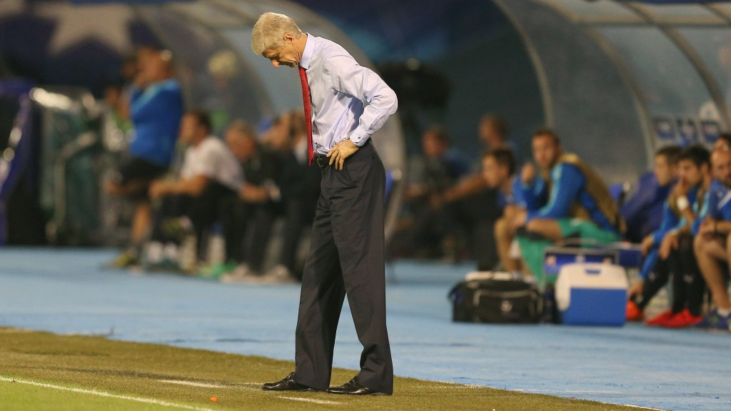 Arsenal manager Arsene Wenger shows a look of dejection during the UEFA Champions League Group F football match between GSK Dinamo Zagreb and Arsenal on September 16, 2015 at The Stadion Maksimir in Zagreb, Croatia. Photo Kieran McManus / Backpage Images / DPPI