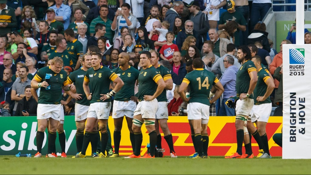 Dejected South Africa players during the IRB Rugby World Cup 2015 Pool B rugby union match between South Africa and Japan on september 19, 2015 at Brighton Community Stadium in Brighton, Great Britain. Photo Ben Queenborough / Backpage Images / DPPI