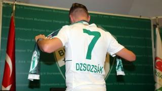 BURSA, TURKEY - AUGUST 17: Hungarian player Balazs Dzsudzsak poses with his new jersey after signing with Bursaspor for 4 years in Bursa, Turkey, on August 17, 2015. Sergen Sezgin / Anadolu Agency