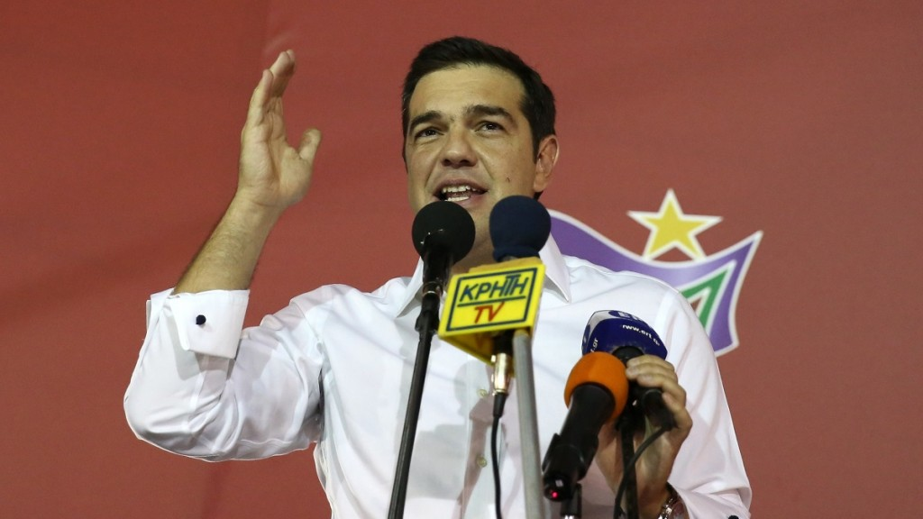 ATHENS, GREECE - SEPTEMBER 20: Alexis Tsipras speaks to crowd in Athens, Greece, on September 20, 2015. With nearly two-thirds of votes counted, Alexis Tsipras' Syriza party seems highly likely to have won Greece's early general election. Ayhan Mehmet / Anadolu Agency