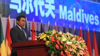 (150612) -- KUNMING, June 12, 2015 (Xinhua) -- Maldives President Abdulla Yameen addresses the opening ceremony of the third China-South Asia Expo in Kunming, capital of southwest China's Yunnan Province, June 12, 2015. The 23rd Kunming Import and Export Fair will be held simultaneously with the Expo from June 12-16 in Kunming. (Xinhua/Lin Yiguang)(wjq)