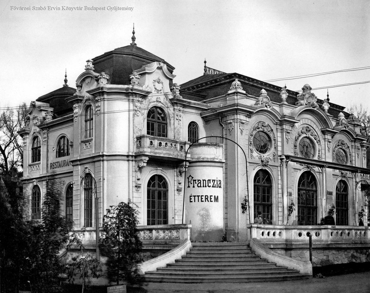 A Franczia vendéglő, a mai Gundel épülete (ép.: Kármán Géza és Ullmann Gyula)