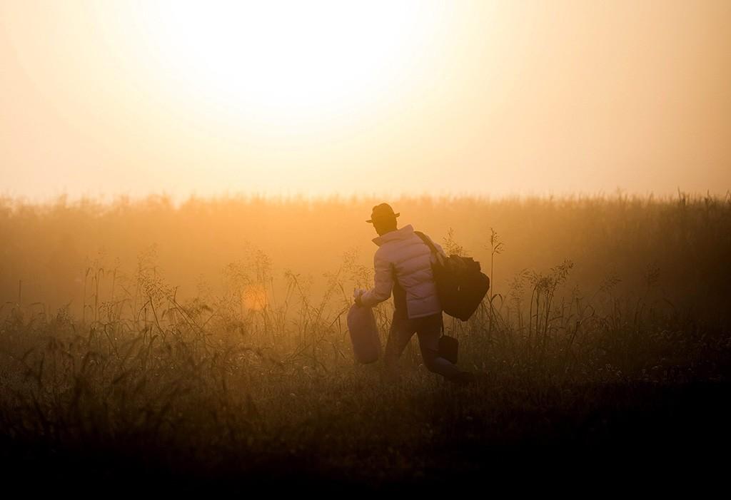Röszke, 2015. szeptember 12.Egy migráns szántóföldön keresztül igyekszik kikerülni az ellenőrzést a Horgos-Szeged vasútvonal mellett, a magyar-szerb határ közelében, Röszke térségében 2015. szeptember 13-án.MTI Fotó: Mohai Balázs