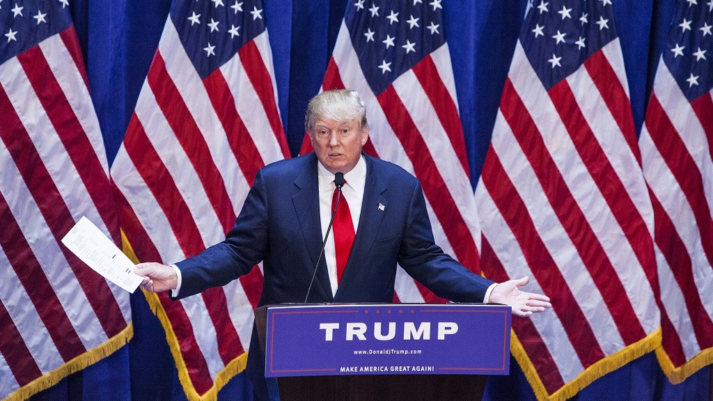 NEW YORK, NY - JUNE 16:   Business mogul Donald Trump gives a speech as he announces his candidacy for the U.S. presidency at Trump Plaza on June 16, 2015 in New York City.  Trump is the 12th Republican who has announced running for the White House.  (Photo by Christopher Gregory/Getty Images)