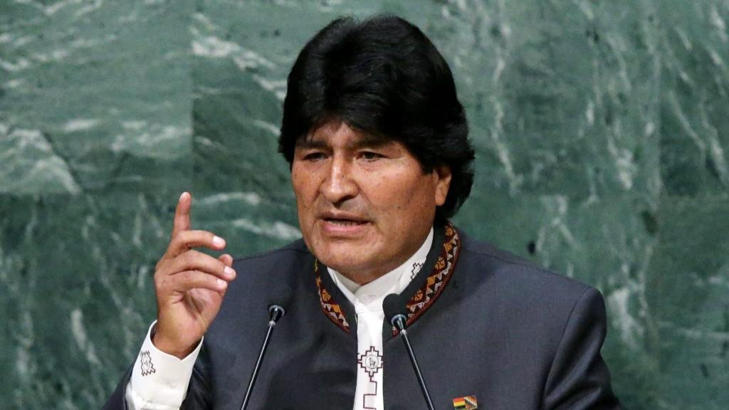 New York, 2015. szeptember 29. Evo Morales bolíviai elnök felszólal az ENSZ-közgyûlés 70. ülésszakának nyitóülésén a világszervezet New York-i székházában 2015. szeptember 28-án. (MTI/EPA/Justin Lane)