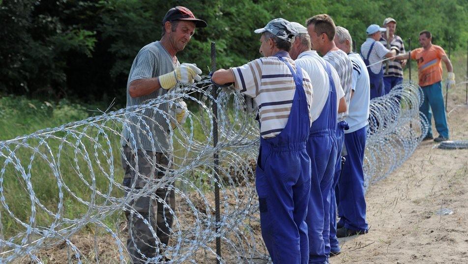 Határzár – Közmunkások végzik a drótakadály telepítését Mórahalomnál