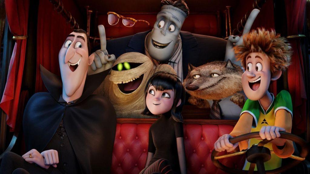 Dracula (Adam Sandler), Griffin the Invisible Man (David Spade), Murray the Mummy, Frank (Kevin James), Mavis (Selena Gomez), Wayne (Steve Buscemi) and Johnny (Andy Samberg) in Columbia Pictures' HOTEL TRANSYLVANIA 2.