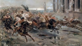 Invasion of the Barbarians or The Huns approaching Rome - Color Painting