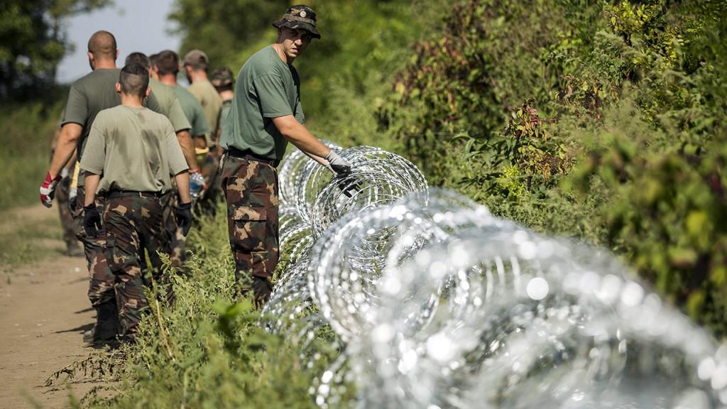 Sárok, 2015. szeptember 18.Katonák szögesdrótot helyeznek el a magyar-horvát határ magyarországi oldalán, Sárok határában 2015. szeptember 18-án. Orbán Viktor miniszterelnök ezen a napon reggel a Kossuth Rádió 180 perc című műsorában elmondta, hogy péntekre virradó éjszaka megkezdődött az ideiglenes műszaki határzár építése a magyar-horvát határon, a kerítést 41 kilométeren építik ki, és az első védvonal még a nap folyamán el is készül.MTI Fotó: Mohai Balázs