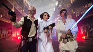Host Adam Savage as Han Solo, special guest Sophia Bush as Princess Leia and host Jamie Hyneman as Luke Skywalker.