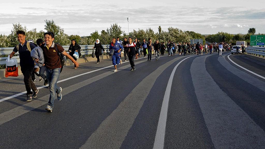 Röszke, 2015. szeptember 7.Migránsok gyalogolnak az M5-ös autópálya felé Röszke külterületén 2015. szeptember 7-én. Közel ezer migráns kijutott a röszkei gyűjtőpontról, miután áttörtek a rendőri élőkordonon. Az emberek egy része elindult Budapest felé az M5-ös autópályán.MTI Fotó: Kelemen Zoltán Gergely