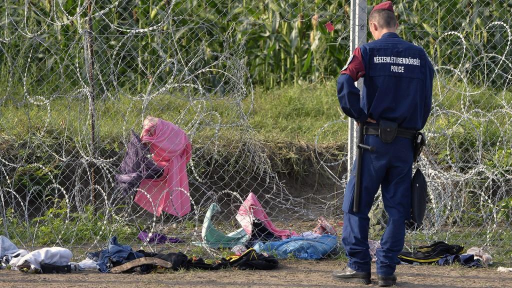Röszke, 2015. szeptember 15.Rendőr a műszaki határzárnál, amelyet illegális bevándorlók megrongálták a röszkei átkelőhöz közel 2015. szeptember 15-én. A 16 tagú csoport tagjai először a gyorstelepítésű drótakadályt, majd a három méter magas drótkerítést is átvágták, és átmásztak azon. A rendőrök elfogták, majd előállították őket. Ezen a napon hatályba léptek a migrációs helyzet miatti új szabályozások.MTI Fotó: Ujvári Sándor