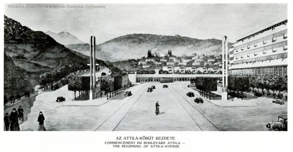 Vágó József perspektivikus terve. Háttérben a Gellérthegy, 1934