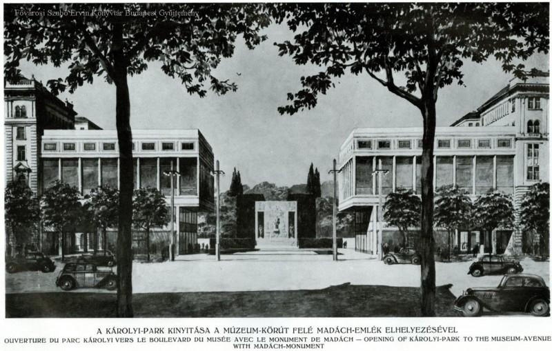 A kert felõl készült kép, a tervezett parkbejárattal. Nem valósult meg