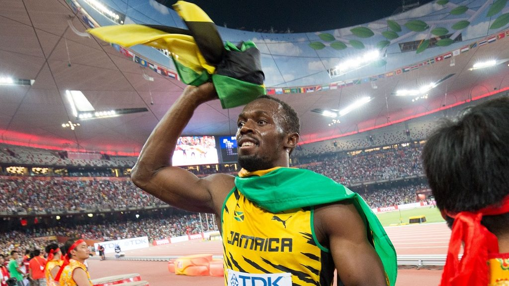 Jamaica's Usain Bolt celebrates after winning the men's 4x100m relay final during the Beijing 2015 IAAF World Championships at the National Stadium, also known as Bird's Nest, in Beijing, China, 29 August 2015. The Jamaican team won the gold medal. Photo: Christian Charisius/dpa