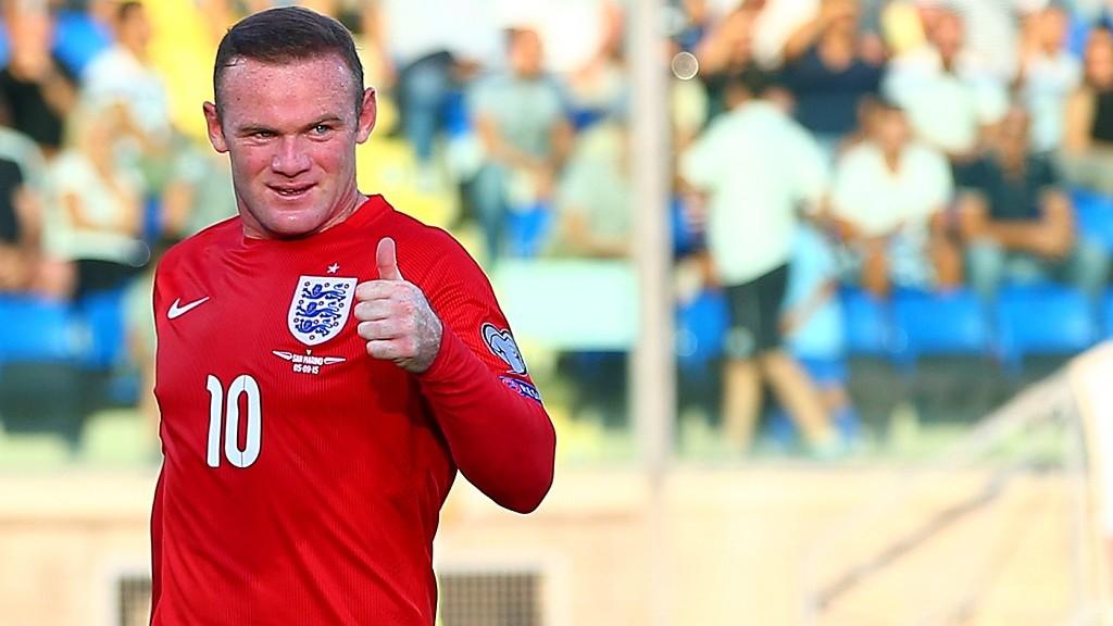 Wayne Rooney gives a thumbs up during the Euro 2016 Qualifying match between San Marino and England played at the San Marino Stadium, San Marino . Photo Kieran McManus / BPI / DPPI