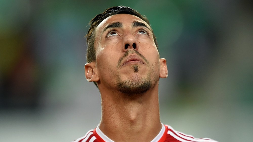 Hungary's defender Leandro de Almeida looks on prior to the UEFA 2016 European Championship qualifying round Group F football match Hungary vs Romania at the Groupama Arena  in Budapest on September 4, 2015.   AFP PHOTO / ATTILA KISBENEDEK