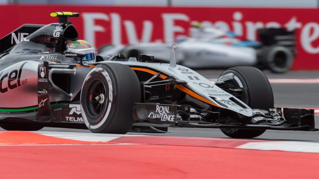 Sergio Perez Mendoza, (PEREZ), MEX, Team Sahara Force India F1, N-11, Force Ind. VJM08, Mercedes-Benz PU106B-HYbrid,  during practice for the Formula One Grand Prix   MEXICO City;  30.10.2015 - Formula 1 Grand Prix of Mexico, Autodromo Hermanos Rodriguez, in the Magdalena Mixhuca park. F1 Motorsport, Formel 1 in Mexiko, Honorarpflichtiges Foto. fee liable image; copyright ATP David LEAH/MEXSPORT