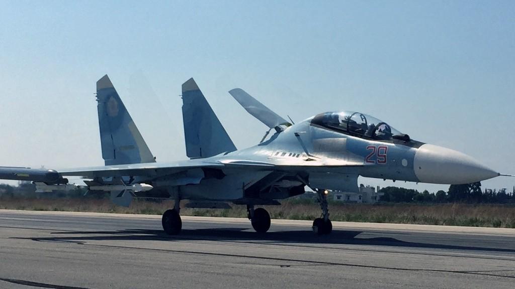 2712445 10/05/2015 A Su-30 fighter takes off at Hmeimim aerodrome in Syria. Dmitriy Vinogradov/RIA Novosti