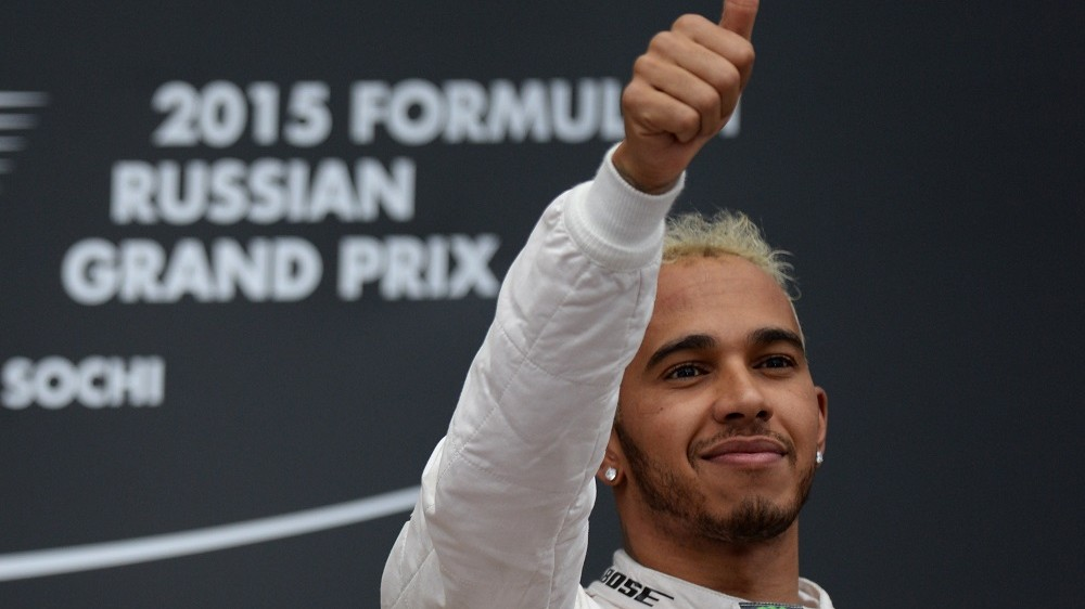 2717483 10/11/2015 Mercedes' Lewis Hamilton, who took the first place in the F1 Russian Grand Prix, during the award ceremony. Cropped. Grigoriy Sisoev/RIA Novosti