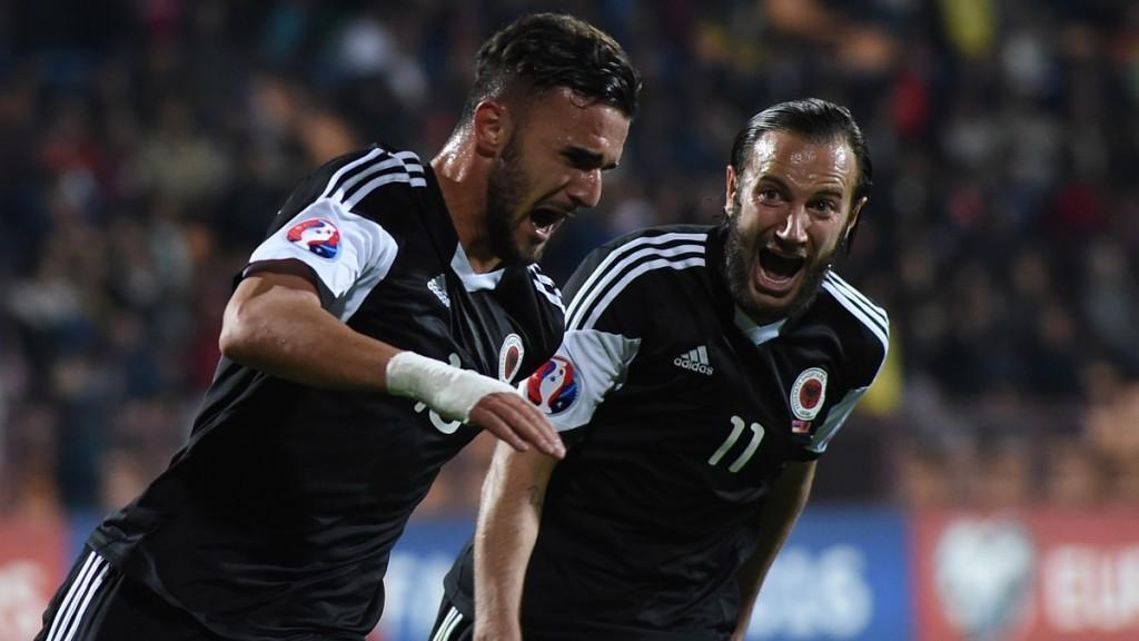 YEREVAN, ARMENIA - OCTOBER 11: National team of Albania celebrate scoring during the Euro 2016 group I qualifying football match between Armenia and Albania on October 11, 2015 at the Replubican stadium in Yerevan. Vahram Baghdasaryan / Anadolu Agency