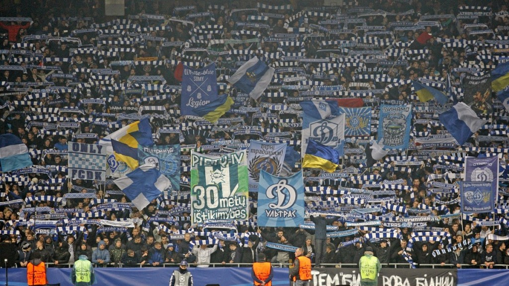 KIEV, UKRAINE - OCTOBER 20 :  Dynamo Kyiv fans show their support during the UEFA Champions League Group G match between Dynamo Kyiv and Chelsea at the Olimpiyskiy Stadium  in  Kiev, Ukraine on October 20, 2015. Vladimir Shtanko / Anadolu Agency