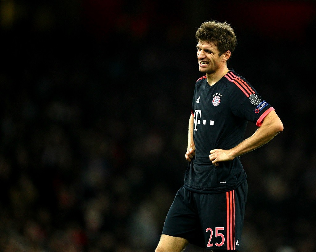Thomas Mueller of Bayern Munich looks dejected during the UEFA Champions League Group F football match between Arsenal and Bayern Munich on October 20th 2015 played at the Emirates Stadium in London, England. Photo Backpage Images / DPPI