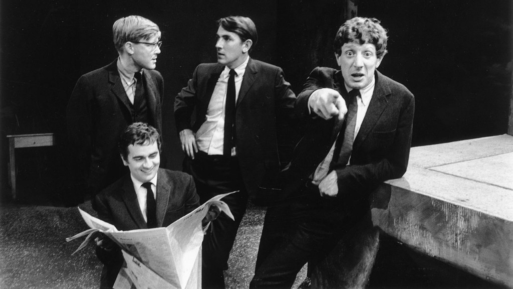 Alan Bennett, Peter Cook (1937 - 1995), Dudley Moore (1935 - 2002) and Jonathan Miller,  authors and performers of the revue, 'Beyond the Fringe'.   (Photo by Terry Disney/Getty Images)