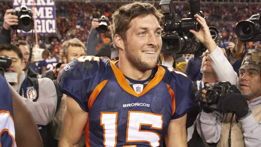 Football: AFC Playoffs: Denver Broncos QB Tim Tebow (15) after game vs Pittsburgh Steelers at Sports Authority Field at Mile High.  Denver, CO 1/8/2012 CREDIT: Robert Beck (Photo by Robert Beck /Sports Illustrated/Getty Images) (Set Number: X86725 TK1 R5 F126 )