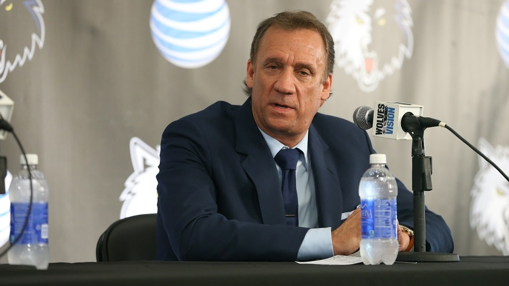 """MINNEAPOLIS, MN - JUNE 6:  Phil """"Flip"""" Saunders, President of Basketball Operations of the Minnesota Timberwolves is named Head Coach of the team by owner Glen Taylor during a press conference on June 6, 2014 at Target Center in Minneapolis, Minnesota.  NOTE TO USER: User expressly acknowledges and agrees that, by downloading and or using this Photograph, user is consenting to the terms and conditions of the Getty Images License Agreement. Mandatory Copyright Notice: Copyright 2014 NBAE (Photo by David Sherman/NBAE via Getty Images)"""