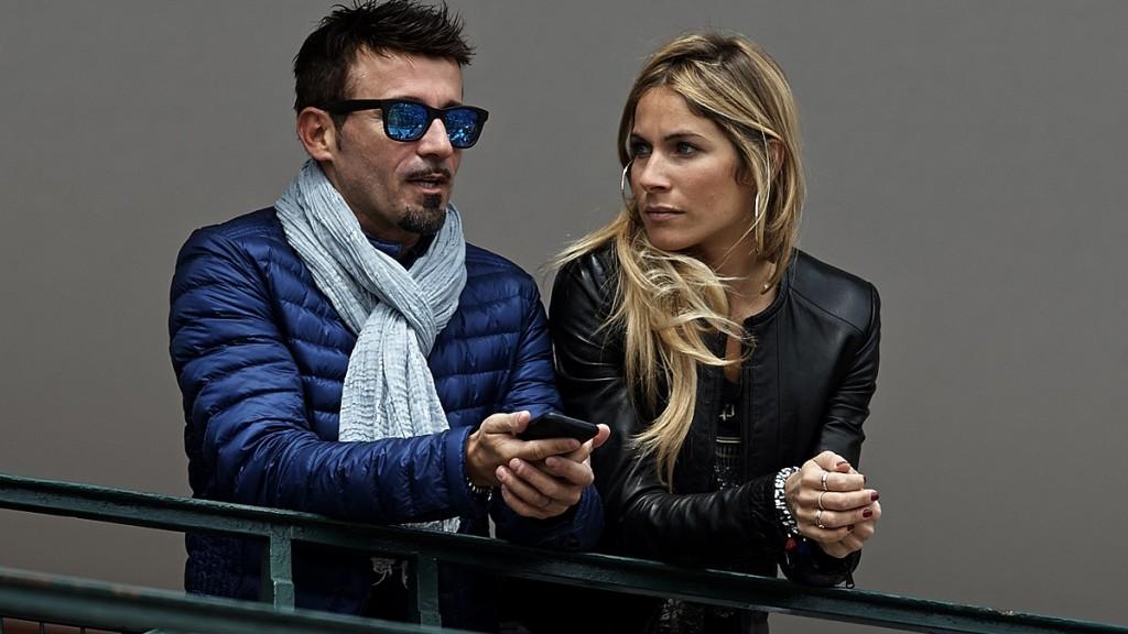 MONTE-CARLO, MONTE CARLO - APRIL 18:  Max Biagi and Eleonora Pedron attend day six of the ATP Monte Carlo Rolex Masters Tennis at Monte-Carlo Sporting Club on April 18, 2014 in Monte-Carlo, Monaco.  (Photo by fotopress/WireImage)