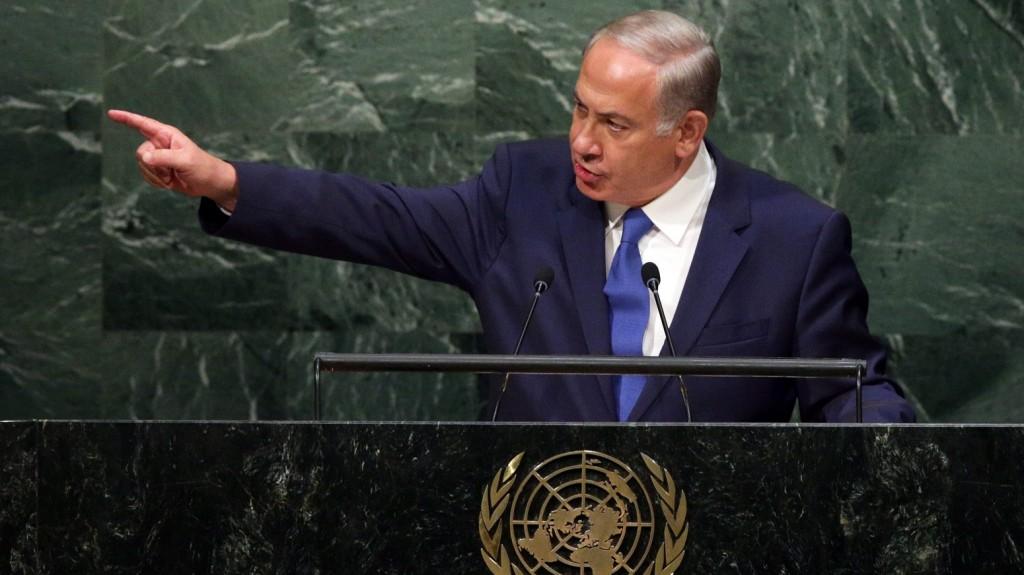 New York, 2015. október 1.  Benjámin Netanjahu izraeli miniszterelnök felszólal az ENSZ-közgyûlés 70. ülésszakának általános vitájában a világszervezet New York-i  székházában 2015. október 1-jén. (MTI/EPA/Jason Szenes)