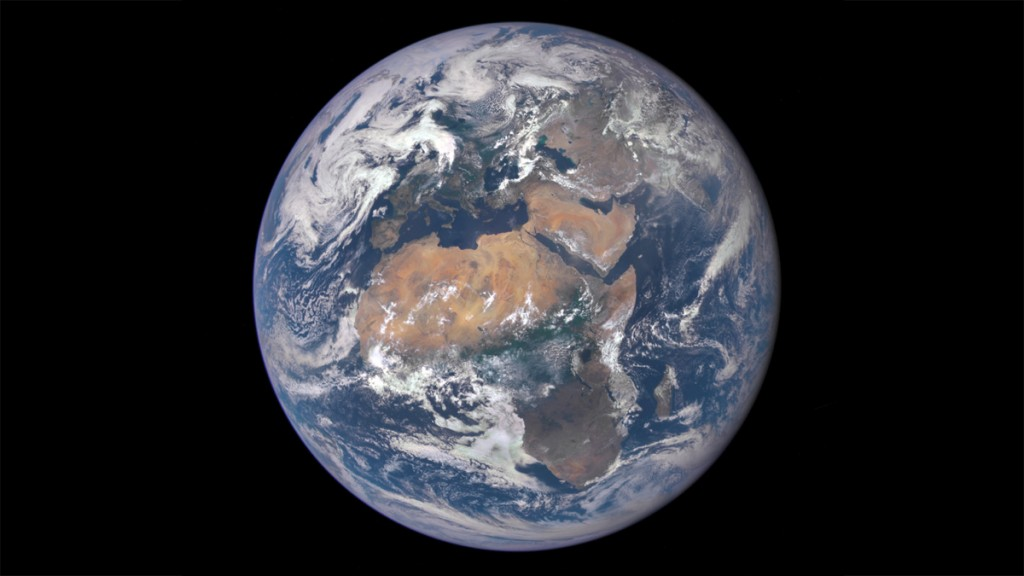 """This NASA handout image released July 29, 2015 shows Africa front and center in this image of Earth taken by a NASA camera on the Deep Space Climate Observatory (DSCOVR) satellite. The image, taken July 6 from a vantage point one million miles from Earth, was one of the first taken by NASA's Earth Polychromatic Imaging Camera (EPIC). Central Europe is toward the top of the image with the Sahara Desert to the south, showing the Nile River flowing to the Mediterranean Sea through Egypt.  AFP PHOTO / NASA / HANDOUT          == RESTRICTED TO EDITORIAL USE / MANDATORY CREDIT: """"AFP PHOTO / HANDOUT / NASA """"/ NO MARKETING / NO ADVERTISING CAMPAIGNS / NO A LA CARTE SALES / DISTRIBUTED AS A SERVICE TO CLIENTS =="""