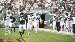 Football: Philadelphia Eagles Darren Sproles (43) in action, punt return for touchdown vs New York Jets at MetLife Stadium.East Rutherford, NJ 9/27/2015CREDIT: Carlos M. Saavedra (Photo by Carlos M. Saavedra /Sports Illustrated/Getty Images)(Set Number: X159965 TK1 )