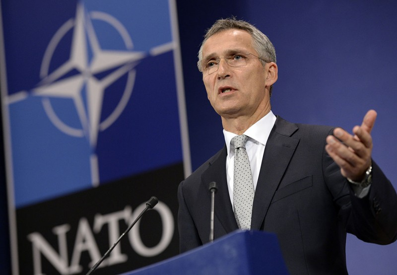 """NATO Secretary General Jens Stoltenberg addresses a press conference at the NATO headquarters in Brussels, on October 6, 2015, ahead of a meeting of the alliance's defence ministers later this week. NATO Secretary General Jens Stoltenberg said Tuesday that Russian violations of Turkish airspace were """"not an accident"""" after Turkey complained of two incursions by Moscow's jets. NATO defence ministers meet in Brussels on October 8 to review progress on boosting the alliance's rapid response force, largely drawn up in response to the Ukraine crisis. AFP PHOTO / THIERRY CHARLIER"""