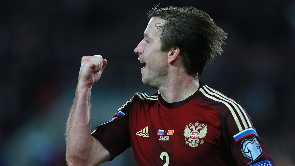 2717885 10/12/2015 Russia's Oleg Kuzmin jubilates after scoring a goal in the UEFA Euro 2016 qualifier between the national teams of Russia and Montenegro. Anton Denisov/RIA Novosti