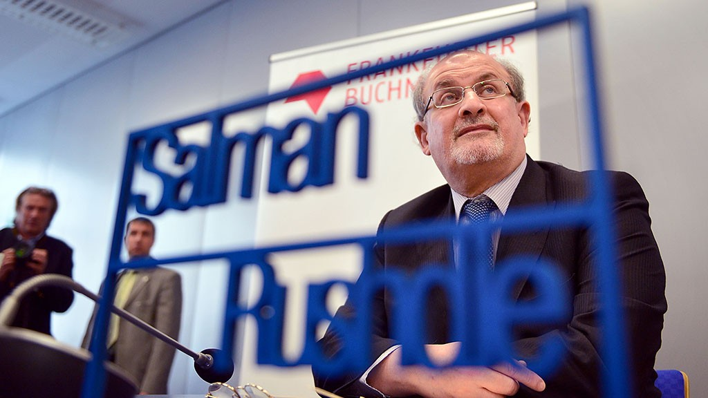 FRANKFURT AM MAIN, GERMANY - OCTOBER 13:  Author Salman Rushdie attends the press conference of the 2015 Frankfurt Book Fair (Frankfurter Buchmesse) on October 13, 2015 in Frankfurt am Main, Germany. The fair, which is among the world's largest book fairs, will be open to the public from October 13-18.  (Photo by Thomas Lohnes/Getty Images)