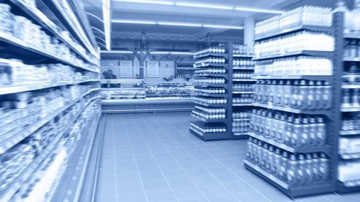 Supermarket aisle, motion blur.