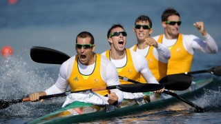 WINDSOR, ENGLAND - AUGUST 09:  Tate Smith, Dave Smith, Murray Stewart, and Jacob Clear of Australia celebrate winning the Gold medal in the Men's Kayak Four (K4) 1000m Canoe Sprint on Day 13 of the London 2012 Olympic Games at Eton Dorney on August 9, 2012 in Windsor, England.  (Photo by Harry How/Getty Images)