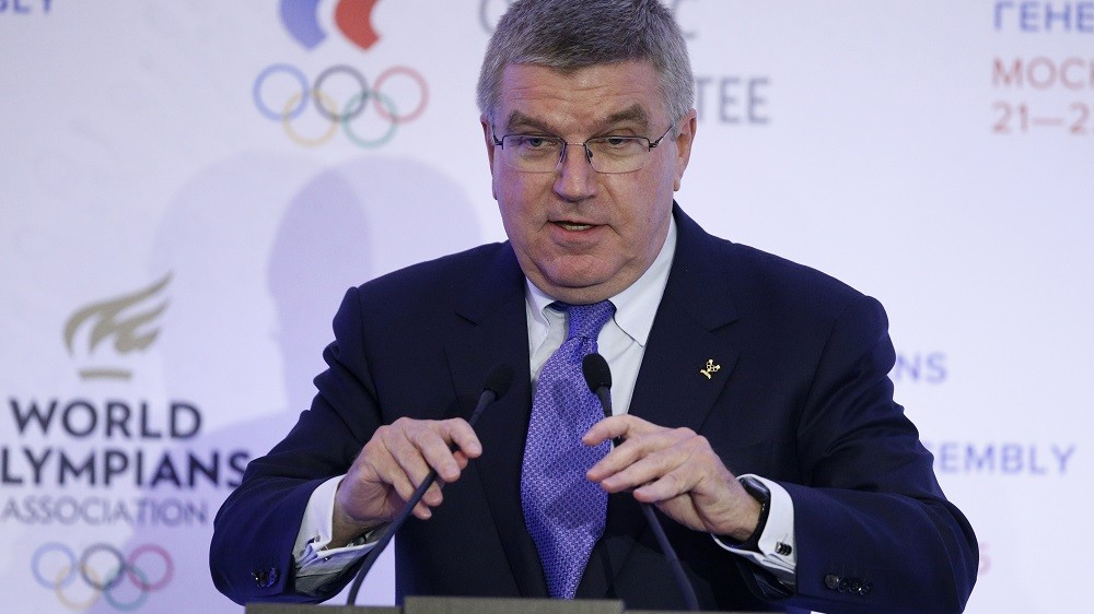 International Olympic Committee (IOC) President Thomas Bach speaks at the World Olympians Forum in Moscow on October 21, 2015. AFP PHOTO / POOL / ALEXANDER ZEMLIANICHENKO