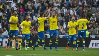 Las Palmas' midfielder Hernan celebrates his goal during the Spanish league football match Real Madrid CF vs UD Las Palmas at the Santiago Bernabeu stadium in Madrid on October 31, 2015.  AFP PHOTO / CURTO DE LA TORRE