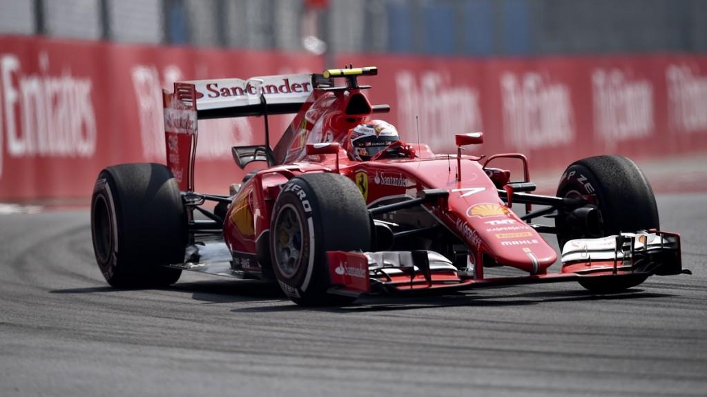 Ferrari's Finnish driver Kimi Raikkonen competes in the F1 Mexico Grand Prix at the Hermanos Rodriguez racetrack in Mexico City on November 1, 2015.   AFP PHOTO / YURI CORTEZ